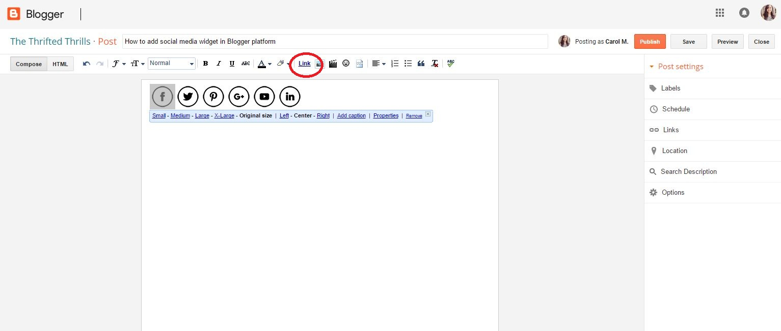 tips on how to add social media icons and links in blogger sidebar or footer