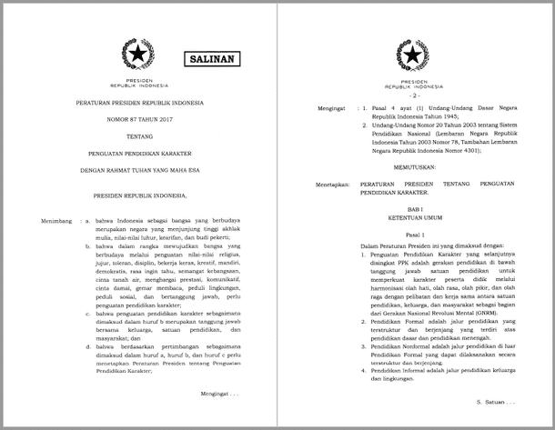 Peraturan Presiden (Perpres) Nomor 87 Tahun 2017 tentang Penguatan Pendidikan Karakter