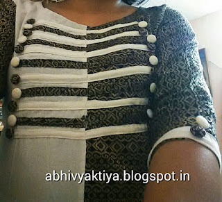how to design kurti with strips and buttons