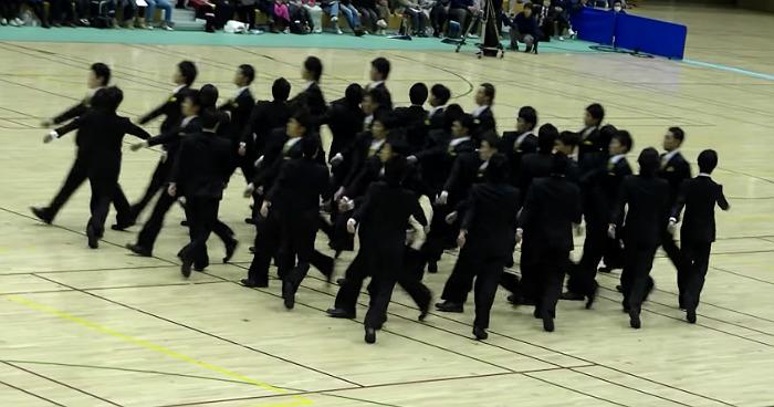Hypnotizing Japanese Performance Of Synchronized Walking