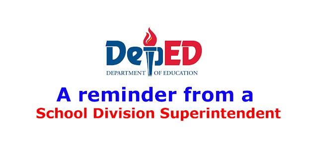A reminder from a School Division Superintendent