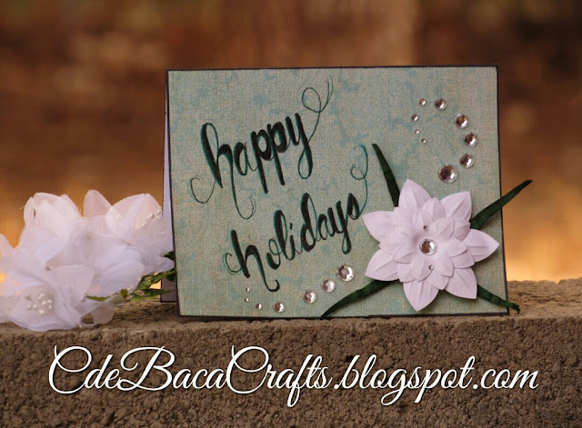 Handmade card for the holidays by CdeBaca Crafts blog.