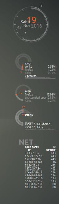 Memasang (install) Conky di Xubuntu 16.10