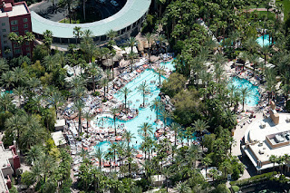 Aerial shot of the Flamingo Hotel's pool