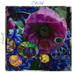 Artwork by Mina Blyly-Strauss with adult, child, and a flower collage.