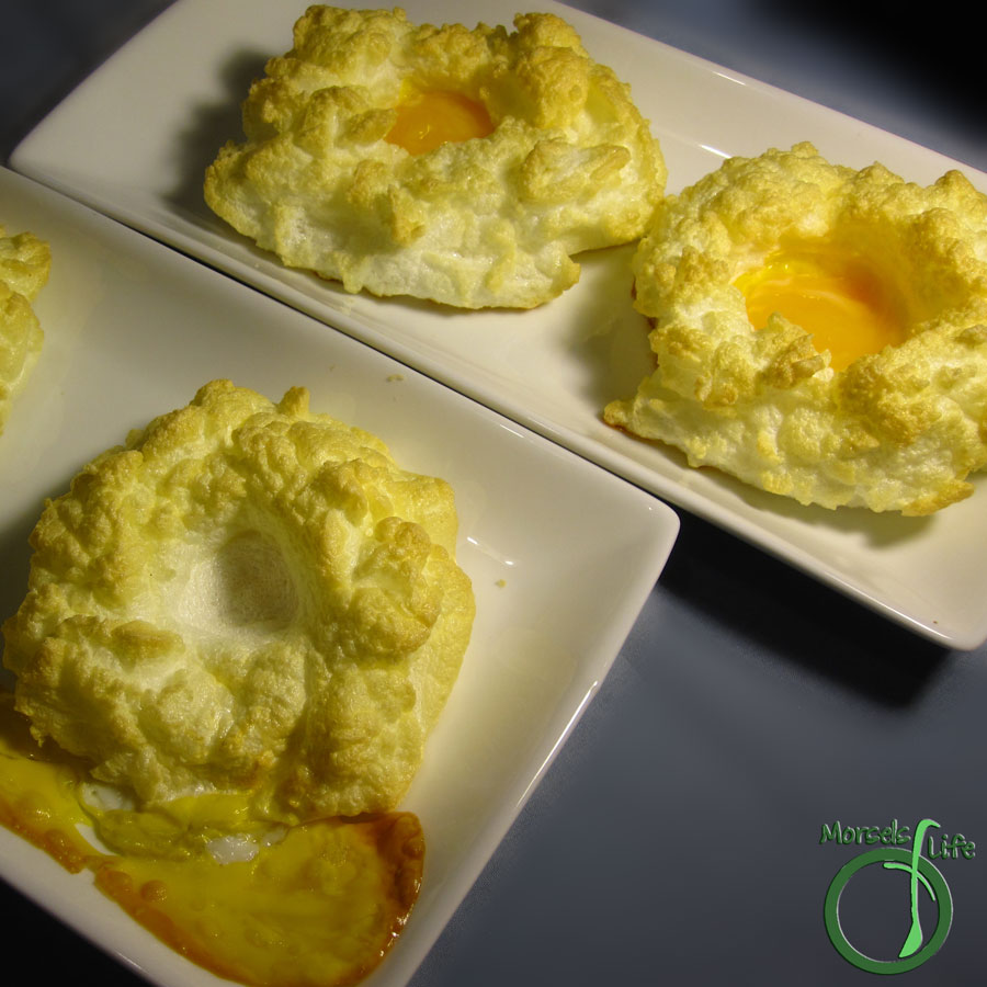 Morsels of Life - Egg Clouds - Egg whites whipped to stiff peaks, formed into clouds, and baked with a yolk center.