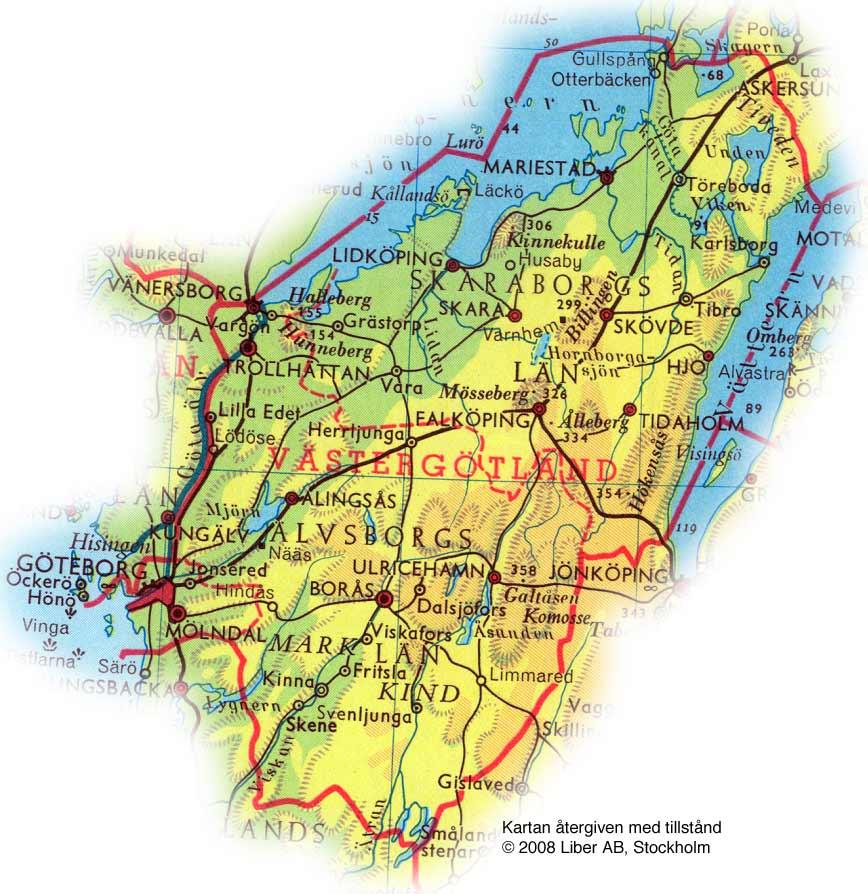 västergötland karta Karta över Västergötland Regionen | Karta över Sverige, Geografisk  västergötland karta