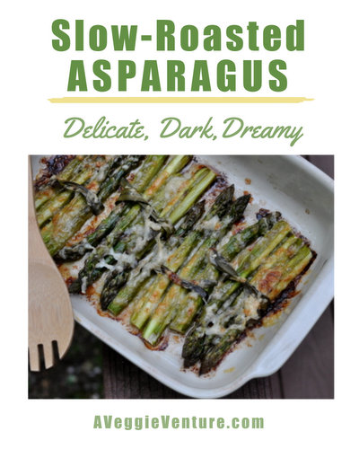 Slow-Roasted Asparagus, another spring classic ♥ AVeggieVenture.com, delicate, dark and dreamy. Low Carb. Weeknight Easy, Weekend Special. Gluten Free.