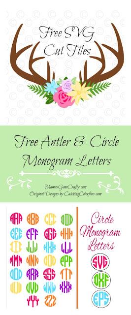 Free svg cut files. Floral deer antlers & circle monogram letters.