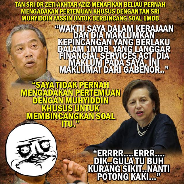 """#1MDB """"Saya tidak pernah mengadakan pertemuan dengan Muhyiddin"""" - Zeti Aziz"""