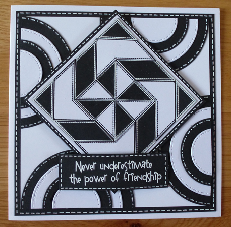 Friendship quilting Card using Woodware products