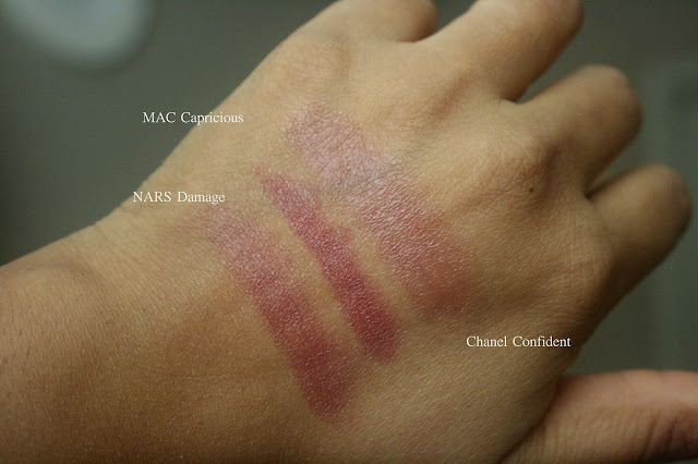 Top 3 sheer plum lipsticks mac capricious, chanel confident rouge coco shine, nars damage lipstick swatches