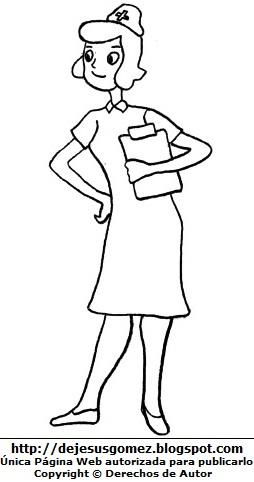 Dibujo de mujer con trabajo de enfermera para colorear, pintar e imprimir. Dibujo de mujer hecho por Jesus Gómez