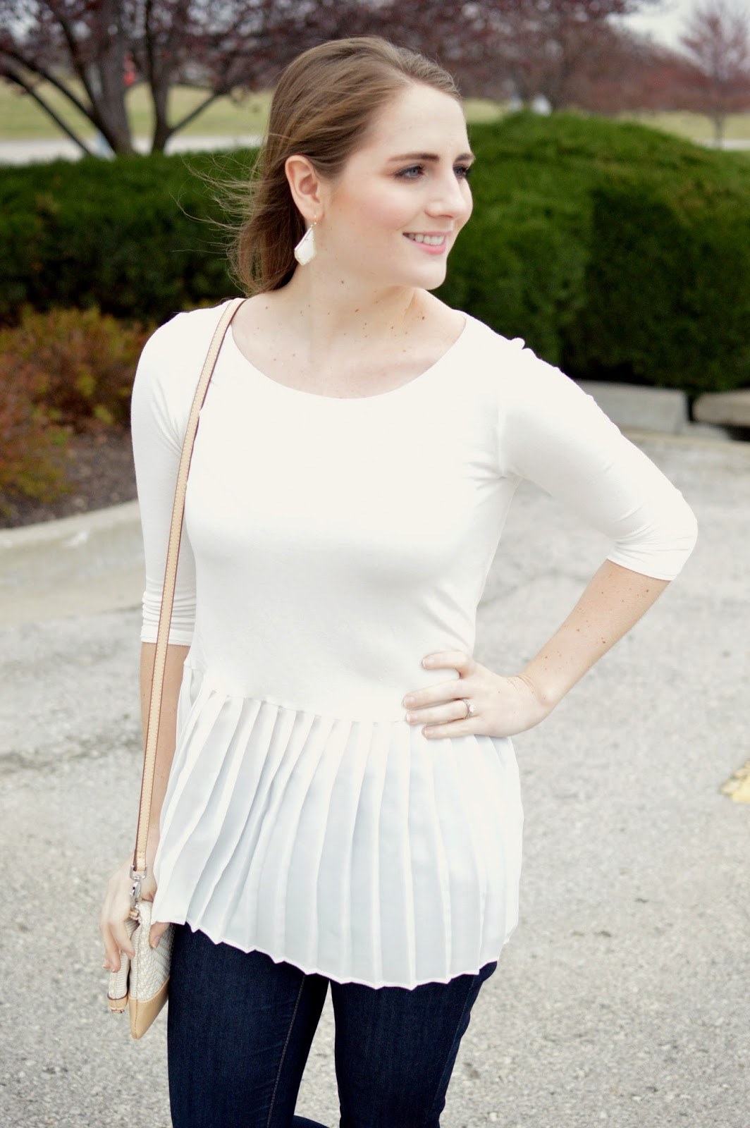 white peplum top for spring