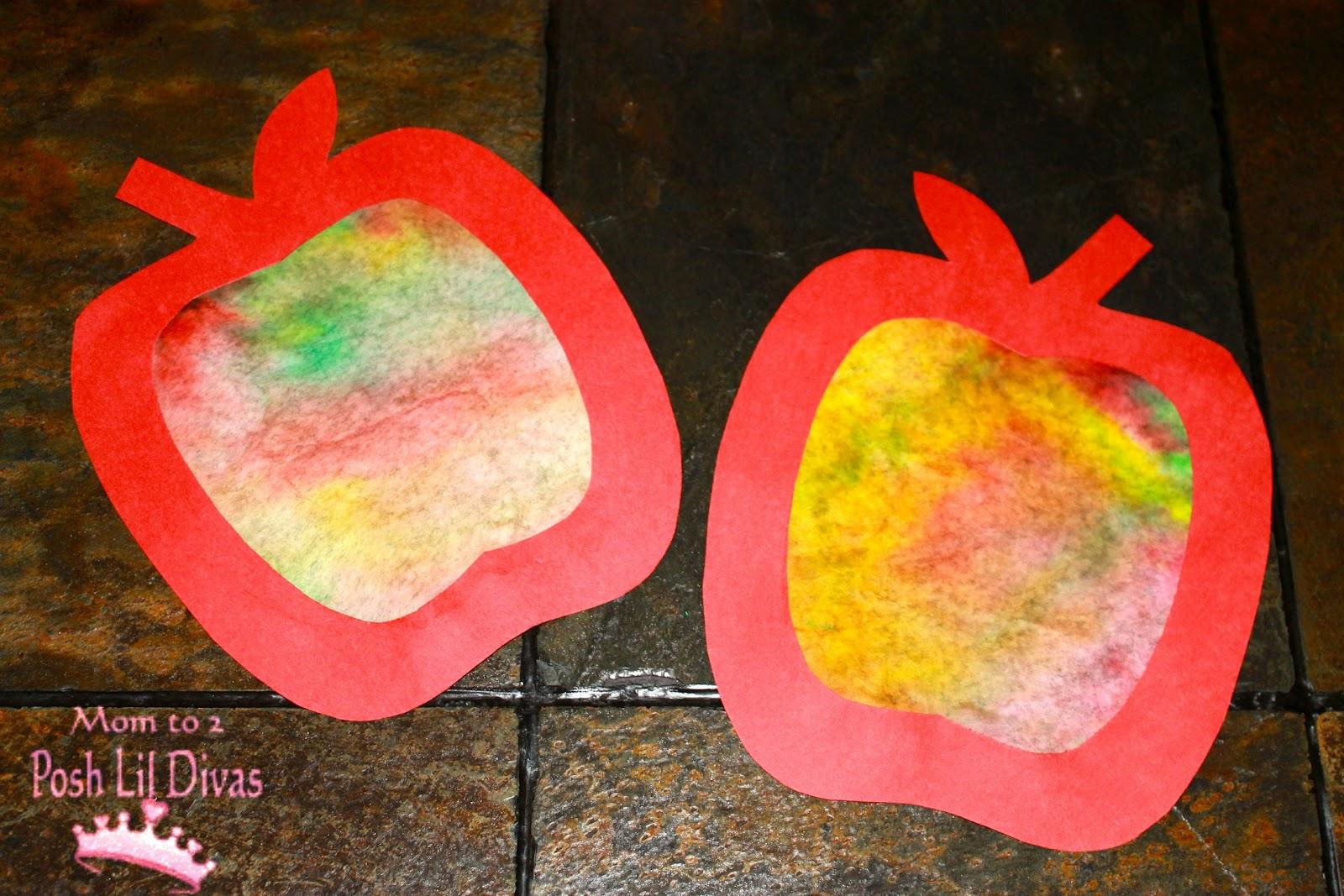 mom to 2 posh lil divas fall crafts coffee filter apple art for kids
