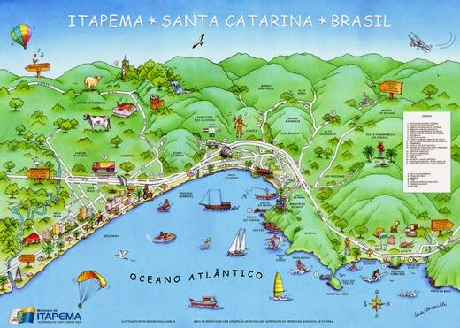 Mapa de Itapema, em Santa Catarina