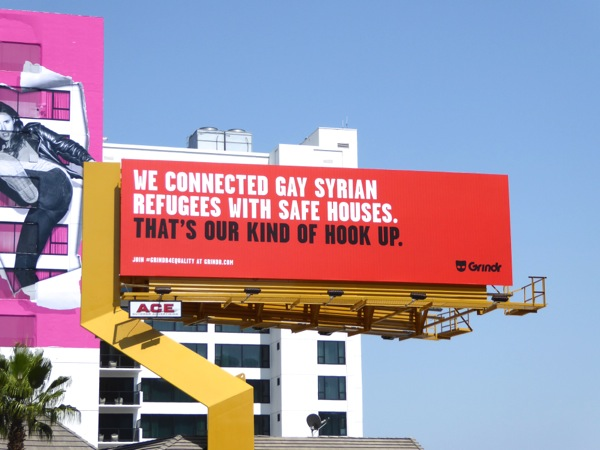 Grindr connected gay Syrian refugees safe houses billboard