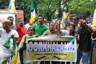 Gorkha Janmukti Nari Morcha shout Jantar Mantar in support of Gorkhaland