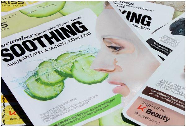 Masque en tissu apaisant au concombre, K Beauty, KISS NY Pro - Avis