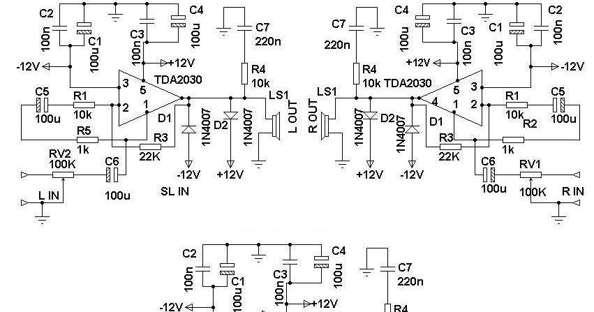 Simple 2.1 Surround Speaker System Circuit Diagram