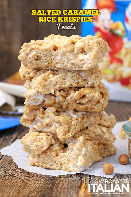 titled image (and shown): Caramel Rice Krispie Treats (stacked 4 high)