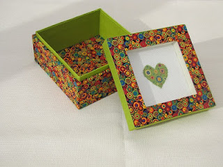 caja, boite, box, cartonnage, punto cruz, point croix, cross stitch, corazón, coeur, heart