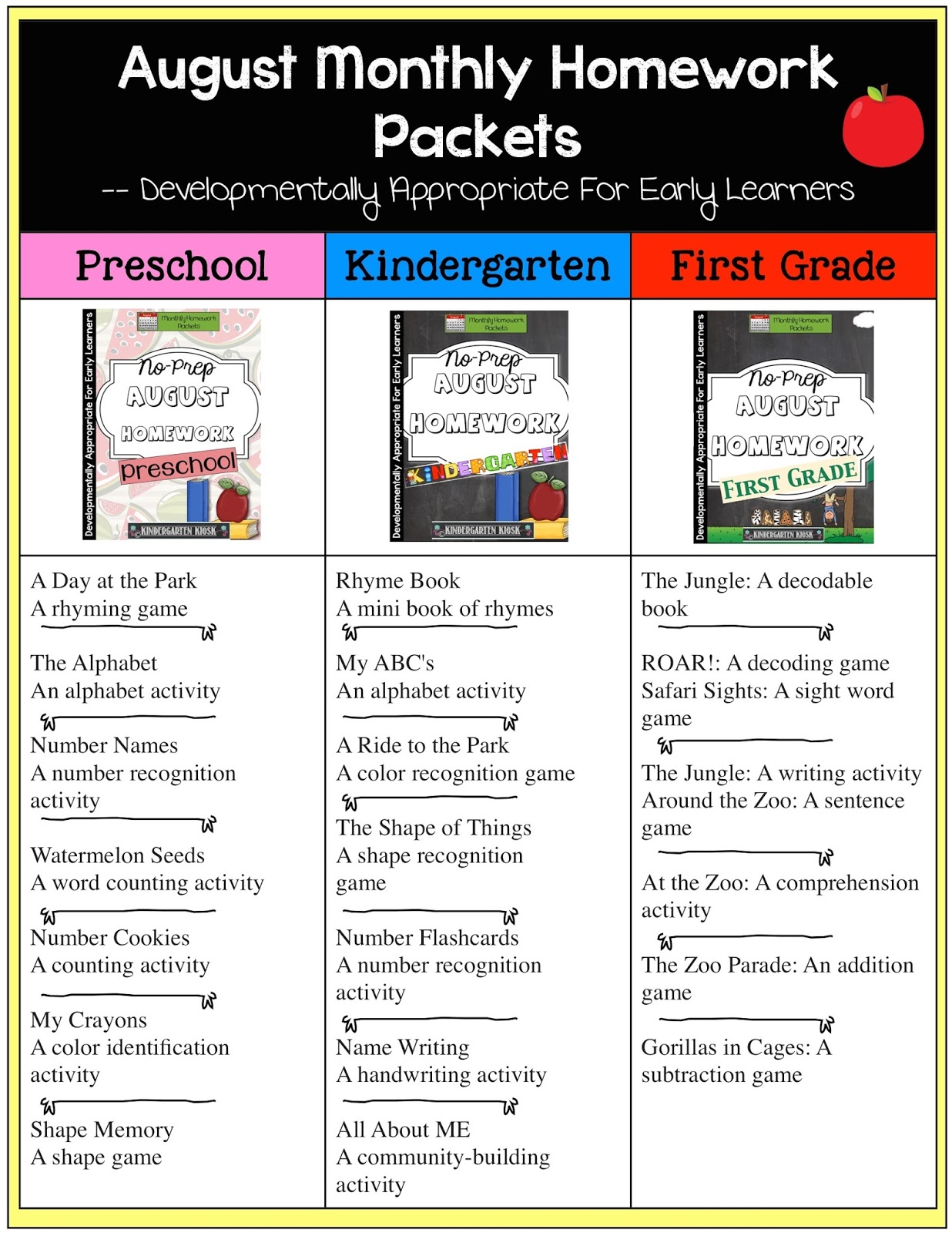 Kindergarten Kiosk Welcome To Kindergarten Homework Packets English And Spanish Versions