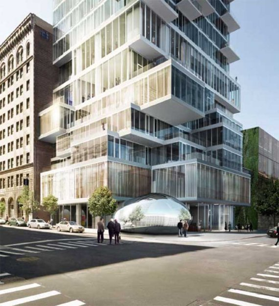 Rendering of 56 Leonard Street by Herzog & De Meuron as seen from the street along with the traffic and pedestrians
