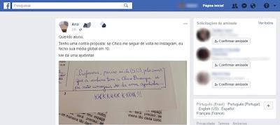 Na Paraíba, Aluno pede nota e Professora promete 10 se Chico Buarque a seguir no Instagram
