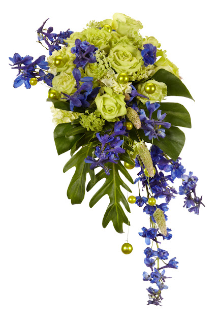 green and purple wedding bouquet, Oasis floral