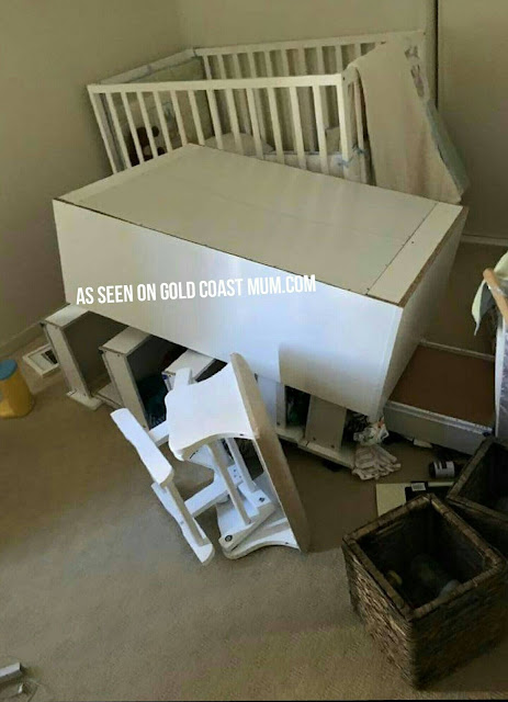 Mason, almost 2, was lucky to escape injury after pulling down this set of drawers. Gold Coast Mum.com