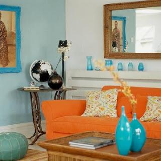 diseño de sala sofá naranja