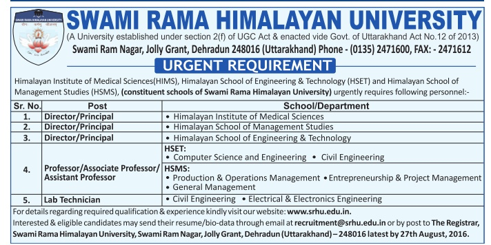 swami rama himalayan university wanted professor  associate professor  assistant professor