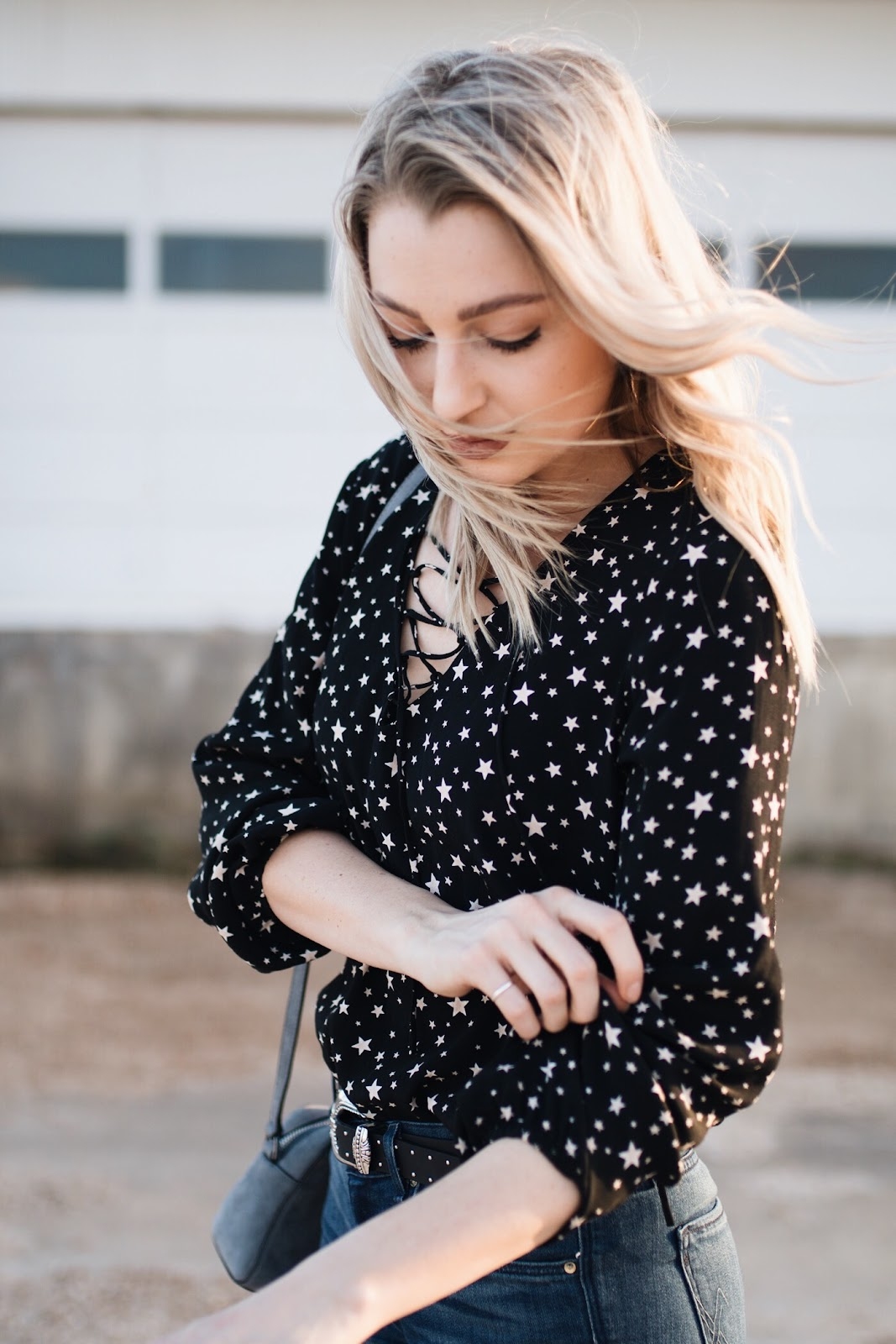 Lace-up star top