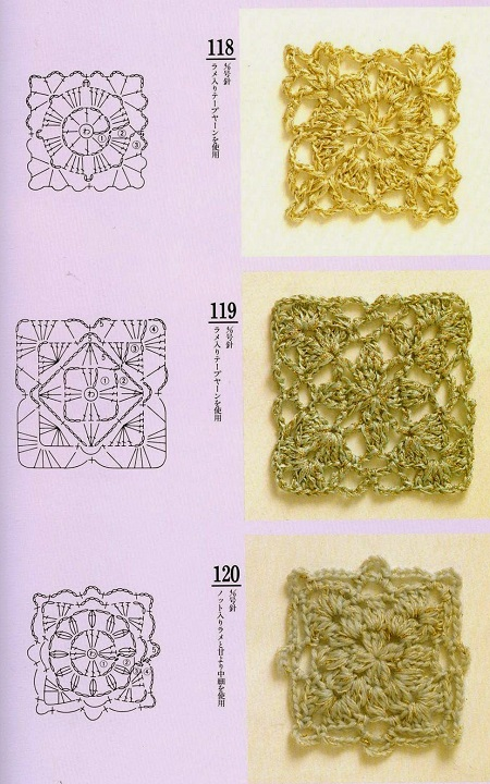 Motivos Quadrados (Squares) de Crochê Com Gráficos 15