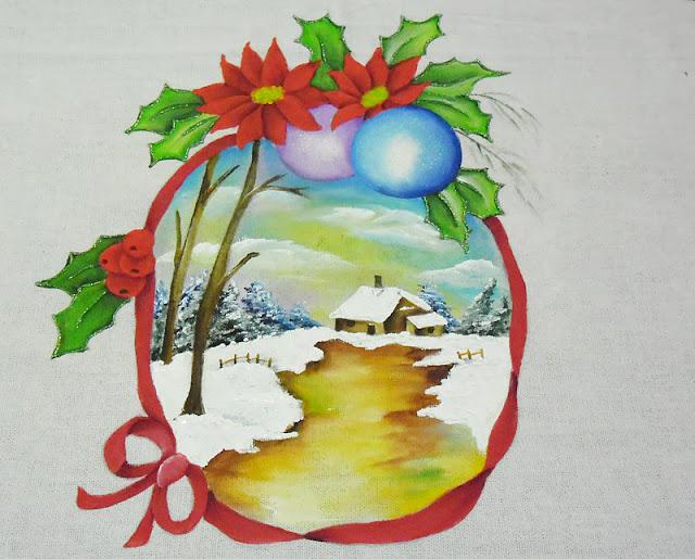 pintura em tecido paisagem de natal