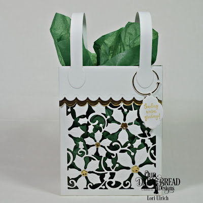 Our Daily Bread Designs Stamp/Die Duos: White As Snow, Custom Dies: Card Caddy & Gift Bag, Gift Bag Handles & Topper, Poinsettia Inset, Keys, Mini Tags