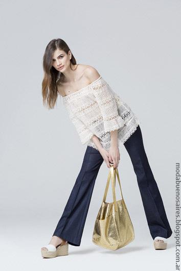 Moda mujer verano blusas y pantalones oxford de moda 2017.
