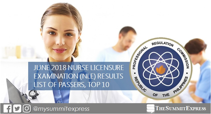 LIST OF PASSERS: June 2018 NLE results nursing board exam