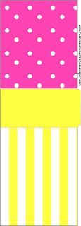 Etiqueta Tic Tac para imprimir gratis de Rosado y Amarillo.
