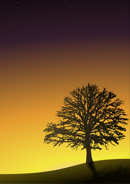 Draw Sunset With Tree Silhouette Landscape Scene Inkscape And Gimp - Tutorial Geek