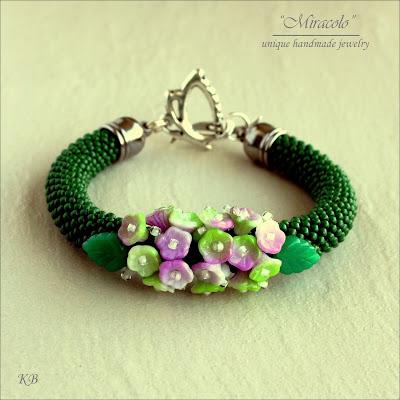 bransoletka, sznur szydełkowo-koralikowy, bead crochet rope
