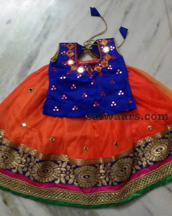 Orange Blue Kids Lehenga with Mirrors