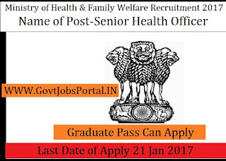 Ministry of Health & Family Welfare Recruitment 2017 For Senior Health Officer Post
