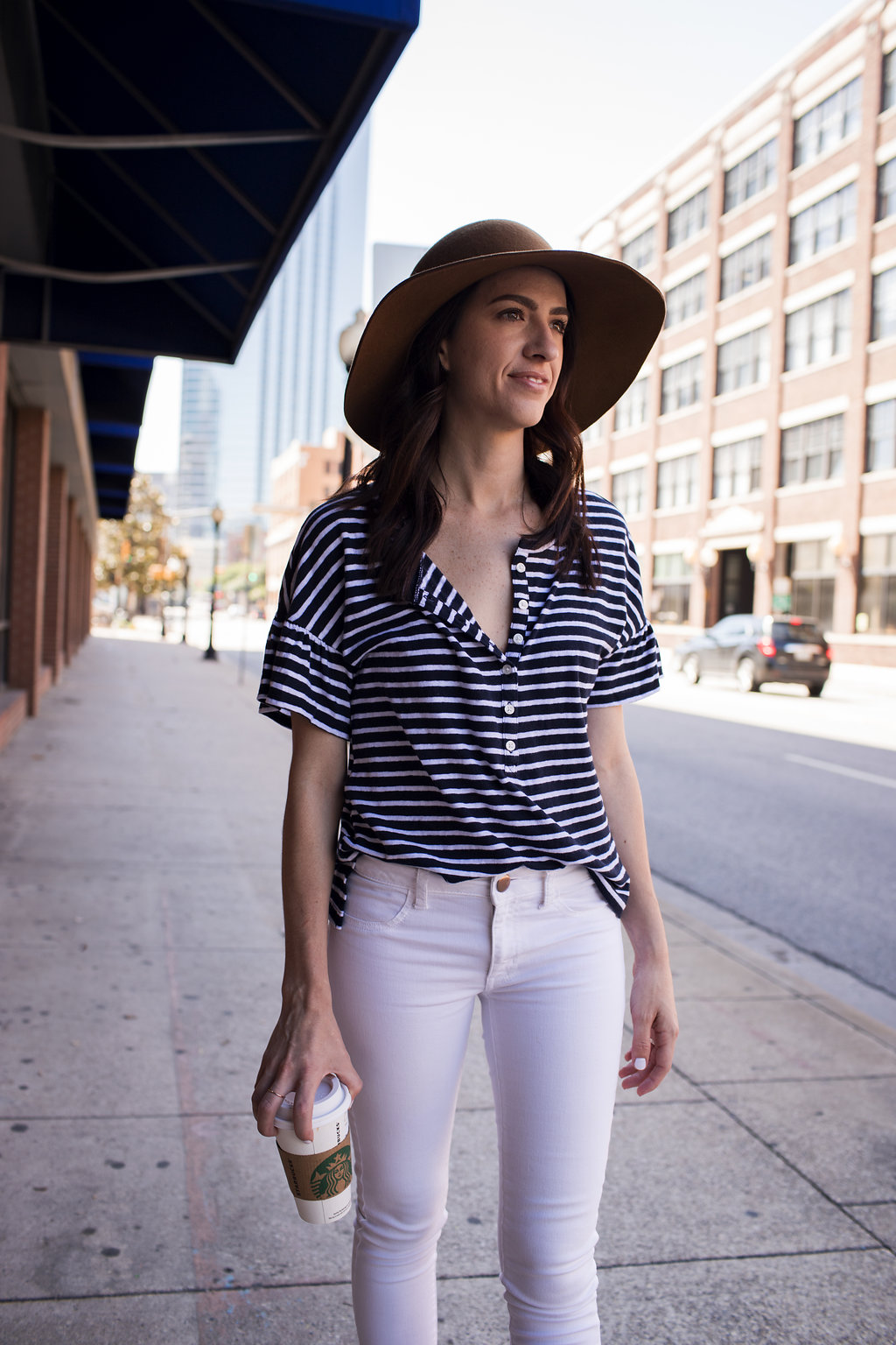 How to Style a Flutter Sleeve Navy and White Striped Henley Tee