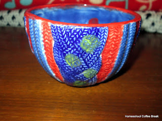 Painted Pottery on the Virtual Refrigerator, an art link-up hosted by Homeschool Coffee Break @ kympossibleblog.blogspot.com