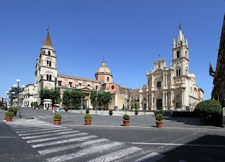 The elegant Piazza Duomo in the centre of the Sicilian town of Acireale, north of Catania