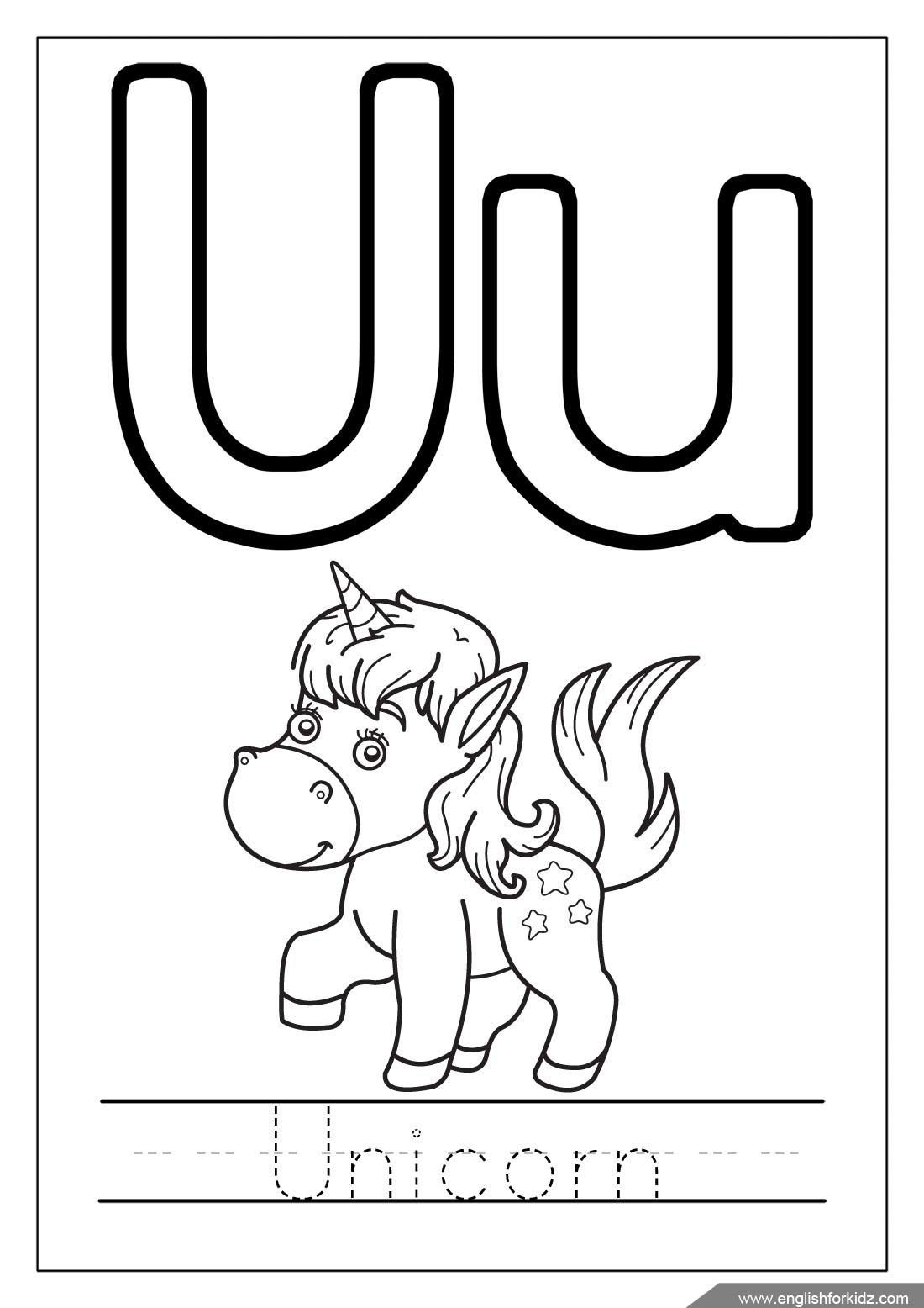 Alphabet Coloring Pages Letters U Z