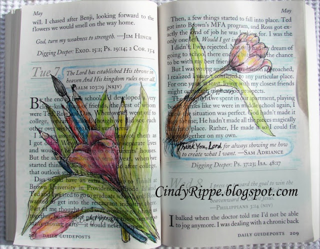 Pen and Ink with Inktense Pencils, Daily Devotional book, Sam Adriance quote, Psalm Psalm 37:23, Psalm 103:19, Tulips and Painting Tools, Florals-Family-Faith, Cindy Rippe