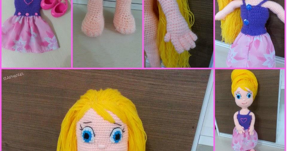 Rapunzel Doll - Amigurumi Crochet Pattern PDF in English | Bonecas ... | 504x960